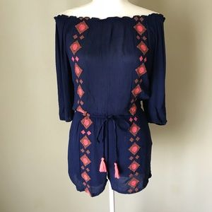 Japan Off Shoulder Navy Shorts Romper Small NWT